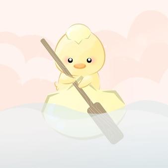 Süßes kleines küken segeln
