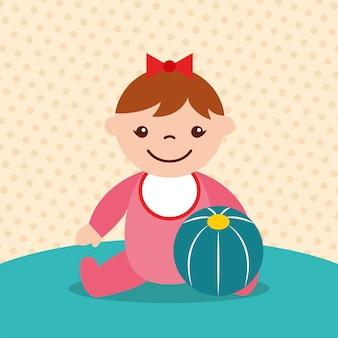 Süßes kleines mädchen mit gummiball spielzeug