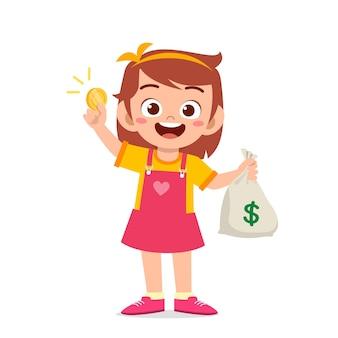 Süßes kleines mädchen trägt tasche mit bargeld und münzen