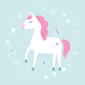 Süßes kleines weißes einhorn. pastellweiche farben.