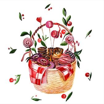 Süßes korb-backwarenbehälterhand gezeichnete aquarellillustration konfektions- und süßwarenpaket auf weißem hintergrund geschenkgeschenk mit botanischen elementen aquarelle malerei