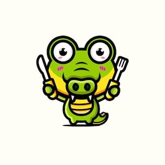 Süßes krokodil, das bereit ist zu essen
