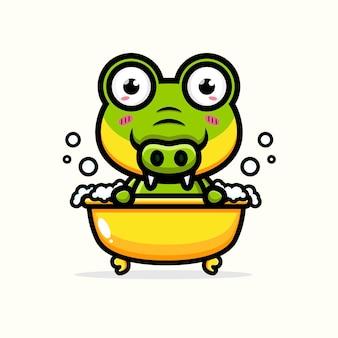 Süßes krokodil, das im bad badet