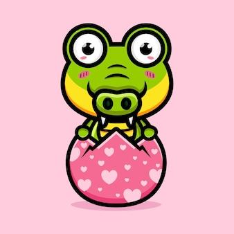 Süßes krokodil gerade aus ei geschlüpft