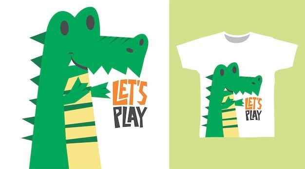 Süßes krokodil-t-shirt-design