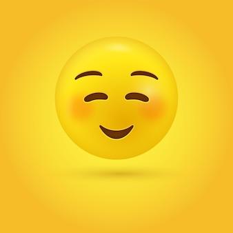 Süßes lächelndes emoji-gesicht im modernen - glücklichen smiley-emoticon