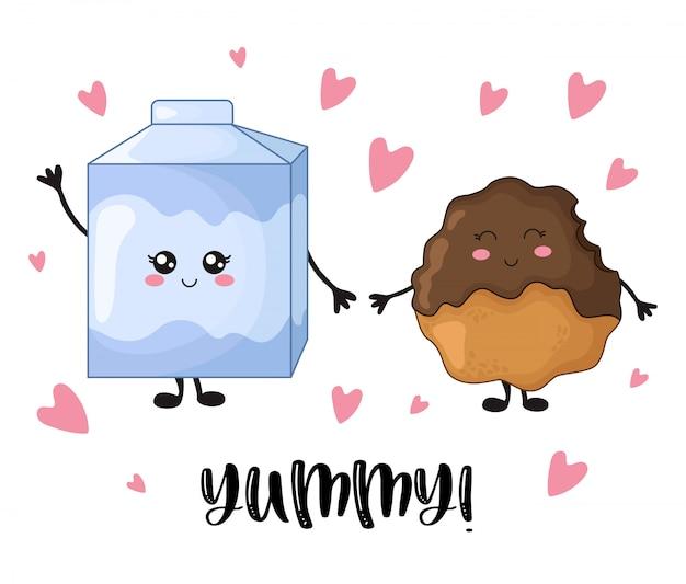 Süßes lebensmittel karikatur kawaii mit schokoladensplitterplätzchen und -milch