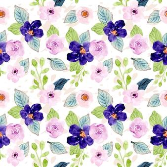 Süßes lila blumen aquarell nahtlose muster