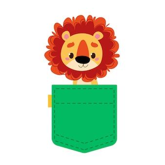 Süßes löwenjunges in einer grünen jeanstasche oder babykleidung das tier schaut aus der tasche