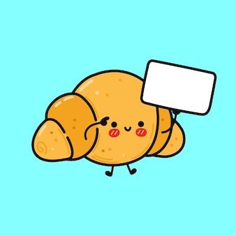 Süßes lustiges croissant mit poster