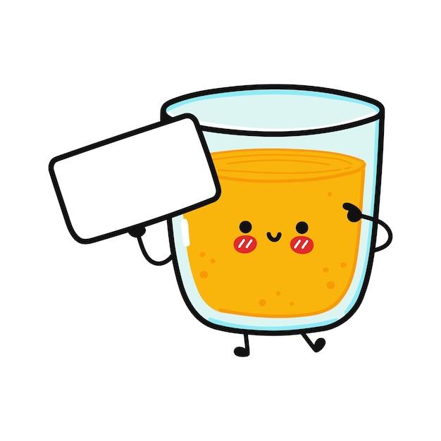 Süßes lustiges glas saft mit poster