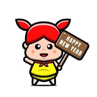 Süßes mädchen, das glückliche neujahrstag-karikaturillustration hält