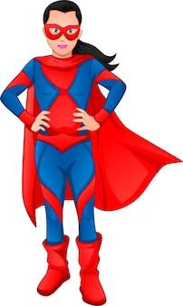 Süßes mädchen, das superheldenkostüm trägt