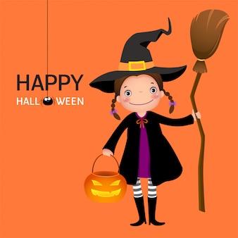 Süßes mädchen der halloweenhexe mit besenstiel und kürbis