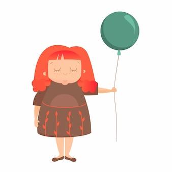 Süßes mädchen im kleid mit ballon