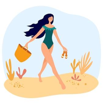 Süßes mädchen in einem badeanzug geht mit einer tasche und flip-flops am strand spazieren. frauen, die sich im sommerurlaubsort entspannen. urlaub am meer aussehen, gehende pose. vektor-flache cartoon-illustration
