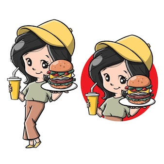 Süßes mädchen mit burger-cartoon