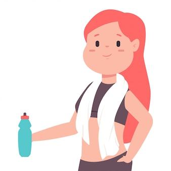 Süßes mädchen mit einer flasche wasser und einem handtuch um den hals ruht sich nach dem training aus. karikaturfrau charakter lokalisiert auf weißem hintergrund.