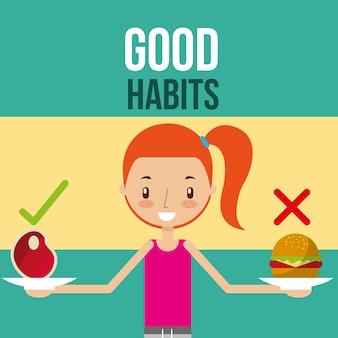 Süßes mädchen mit gesunden und ungesunden lebensmitteln gute gewohnheiten