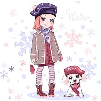 Süßes mädchen mit hund