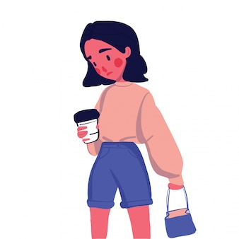 Süßes mädchen mit kaffee