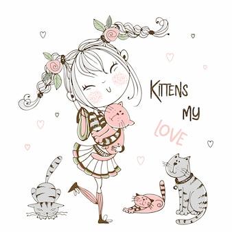 Süßes mädchen mit katzen. kätzchen meine liebe.