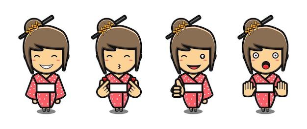 Süßes mädchen mit kimono-maskottchen-cartoon-set