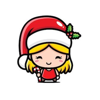 Süßes mädchen mit weihnachtsmann kostüm