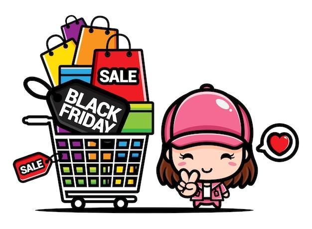 Süßes mädchen schwarzer freitag einkaufen