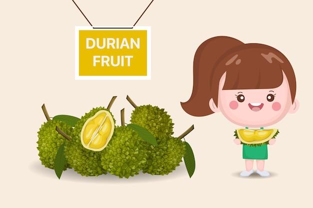 Süßes mädchen und durian köstliche frucht. durianfrucht ganz und geschält