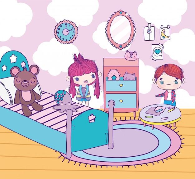 Süßes mädchen und junge des anime im schlafzimmer mit spielzeug-tischspiegelteppich