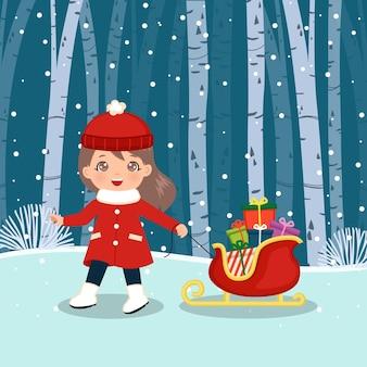 Süßes mädchen zieht einen schlitten voll mit weihnachtsgeschenken