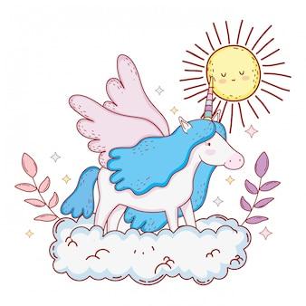 Süßes märchen einhorn mit wolken und sonne