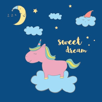 Süßes magisches einhorn. süße kindergrafiken für t-shirts, babyparty, postkarte, poster, banner, sammelalbum, aufkleber, einladungsdesign. vektorillustration mit doodle-kinderzimmer-kunst.
