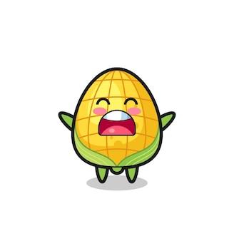 Süßes mais-maskottchen mit einem gähnen-ausdruck, süßes stildesign für t-shirt, aufkleber, logo-element