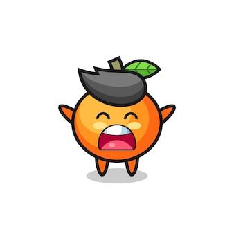 Süßes mandarin-orangen-maskottchen mit einem gähnen-ausdruck, süßes stildesign für t-shirt, aufkleber, logo-element