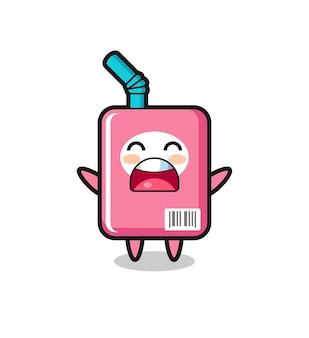 Süßes milchbox-maskottchen mit einem gähnen-ausdruck, süßes stildesign für t-shirt, aufkleber, logo-element