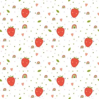 Süßes muster mit erdbeeren und regenbogen auf weißem hintergrund