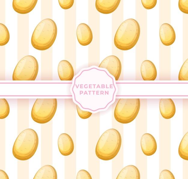 Süßes nahtloses muster der kartoffel. nettes gemüsemuster