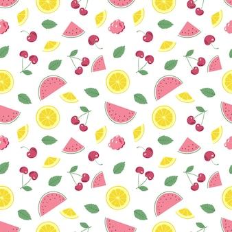 Süßes nahtloses muster des frühlings oder des sommers mit kirschenzitronen und wassermelonen