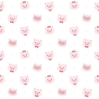 Süßes nahtloses muster des schweins