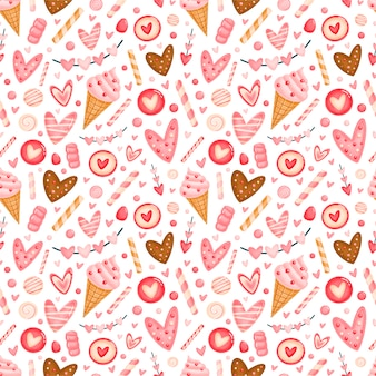 Süßes nahtloses muster des valentinstags. valentinsbonbonmuster.