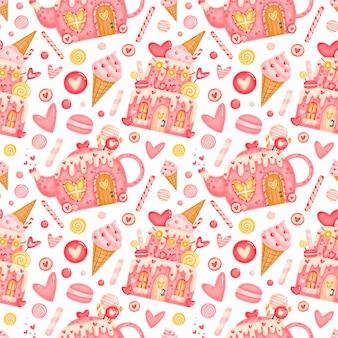 Süßes nahtloses muster des valentinstags. valentinstag lebkuchenhäuser muster. valentinsbonbonmuster.