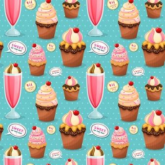 Süßes nahtloses muster, entzückende snacks-kollektion mit cupcake und milchshake