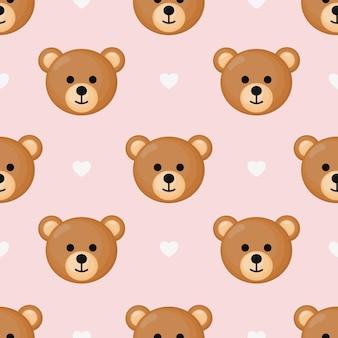 Süßes nahtloses muster mit cartoon baby teddybären für kinder.