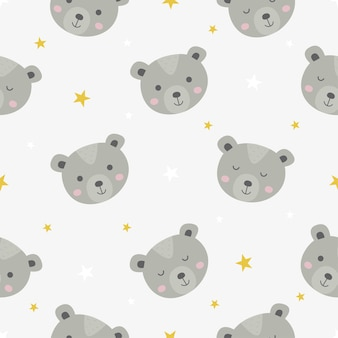 Süßes nahtloses muster mit cartoon-baby-teddybären