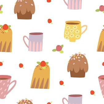 Süßes nahtloses muster mit cupcakes