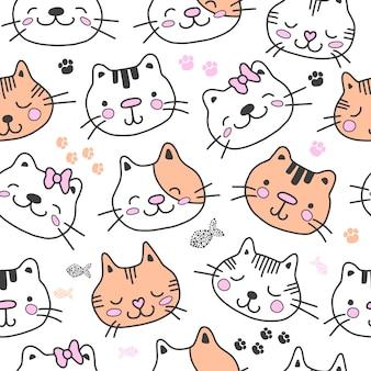 Süßes nahtloses muster mit katzen