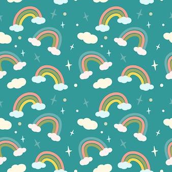 Süßes nahtloses muster mit regenbogen fabelhaftem zartem druck auf blauem hintergrund passend für prinzen...