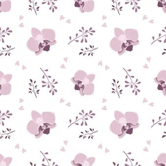 Süßes nahtloses muster mit rosa orchideenblüten und zweigen
